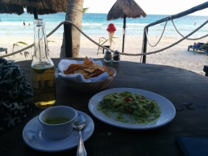 Guacamole, Sol and Habanero Salsa at Tulum