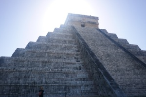 El Castillo with a helpful woman showing scale